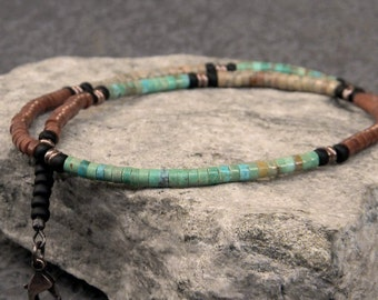Turquoise Necklace, Native American, insp., Southwestern Necklace, Mens Beaded Necklace, Womens Necklace, Natural Turquoise, Heishi Necklace