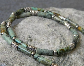 Turquoise Necklace, Jasper, Column Necklace, Tribal Necklace, Southwestern Necklace, Ethnic Necklace, Womens Necklace, Mens Beaded Necklace