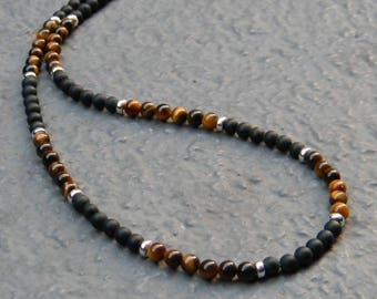 Matte Black Onyx, Tiger Eye, Sterling Silver Necklace, Mens Necklace, Womens, Mens Beaded Necklace, Minimalist Necklace, Mens 4mm Necklace