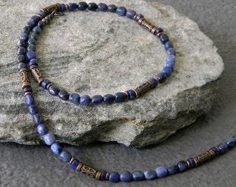 Mens Beaded Necklace, Unisex, Denim Blue, Gemstone Necklace, Tribal Necklace, Ethnic Necklace, Dumortierite, Lapis Necklace, Mens Necklace
