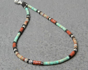 Natural Turquoise Necklace, insp. by, Native American Jewelry, Mens Beaded Necklace, Womens Necklace, Southwestern Necklace, Heishi Necklace