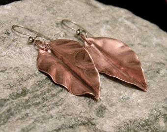 Brushed Copper Earrings, Leaf Earrings, Mixed Metals, Boho Earrings, Fold Formed Earrings, Copper Jewelry, Nature Jewelry, Woodland earrings
