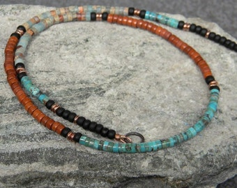 Natural Turquoise Necklace, Native American Jewelry, Heishi Necklace, Tribal, Boho, Southwestern Necklace, Unisex Necklace, Jasper Necklace