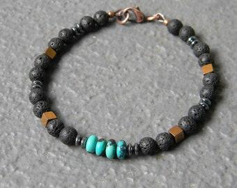 Turquoise, Black Lava, Hematite Bracelet, Mens Bracelet, Lava Jewelry, Bracelet for Men, Women, Boho, Tribal Bracelet, Oil Diffuser Bracelet