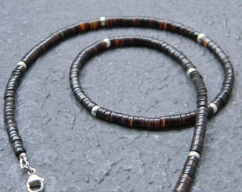 Brown Shell Heishi Necklace, Native American Jewelry, Boho, Tribal, Southwestern Necklace, Unisex, Mens Beaded Necklace, Mens Choker