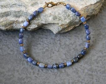 Mens Beaded Bracelet, Blue Stone Bracelet, Mens Bracelet, Unisex Bracelet, Boho, Bohemian Bracelet, Natural Stone Jewelry, Gemstone Bracelet