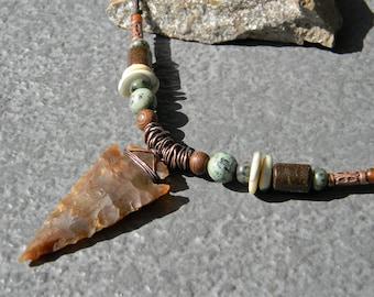 Arrowhead Necklace, Native American Jewelry, insp, Boho Arrowhead Necklace, Boho Man, Tribal, Southwestern Neckace, Unisex, Mens Necklace
