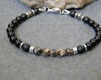 Mens Beaded Bracelet, Black Onyx Bracelet, Turritella Agate, Bracelet for Men, Gemstone Bracelet, Mens Black Bracelet, Womens Bracelet
