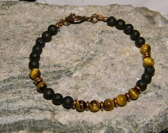 Tiger Eye Bracelet, Black Lava Stone Bracelet, Tribal Bracelet, Mens Beaded Bracelet, Bracelet for Men, Natural Stone Bracelet