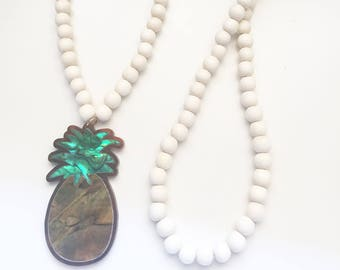 Mother of Pearl Pineapple Necklace - Pineapple Necklace - Unique Gifts - Pineapple Jewelry