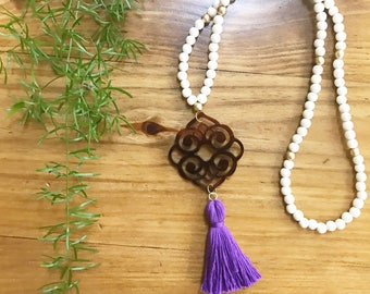 Katherine Pendant Tassel Necklace - Long Tassel Necklace - Beaded Tassel Necklace