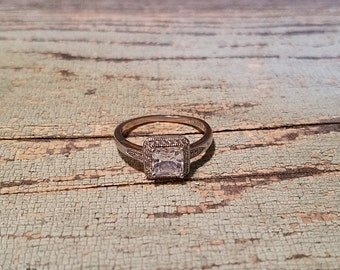 Vintage IBB CN Silver Plated Crystal Engagement Ring