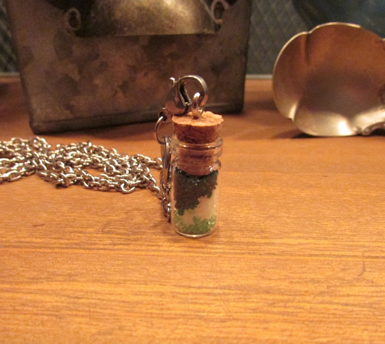 Glows in the Dark Irish Luck St Patrick/'s Day Green Crystal Glowing Stars Glass Vial Bottle Necklace with a 30 inch Silver Plated Chain