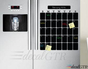 Fridge Calendar   Refrigerator Chalkboard Calendar Decal   Kitchen Vinyl  Sticker   Kitchen Chalk Board   Black Board Adhesive   C017