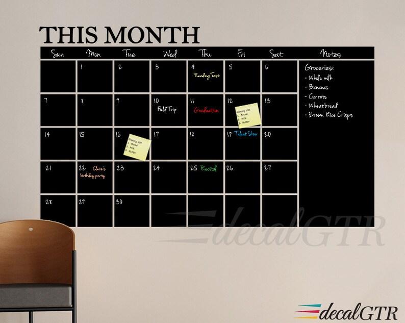 chalkboard calendar wall decal 18x30 or 24x41 chalk board | etsy