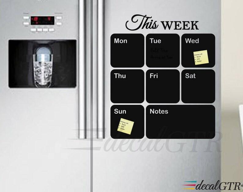 16x19 Chalkboard Weekly Calendar fridge weekly planner organizer vinyl wall decal black board calendar for kitchen C014