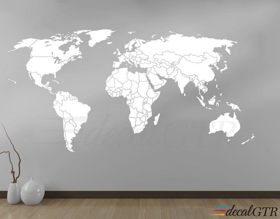 world map wall decal countries borders outlines white matt | etsy
