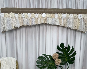 Vintage Pink Butterfly Ruffled Valance Shabby Curtain One 46 x 10.5 Retro Cottage Chic Farmhouse Decorating Decor Romantic Country
