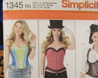 b11d8876dc4 Simplicity 1345 Corset and ruffled Shrug sewing pattern Women s Medium to Large  14-22
