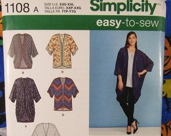c7d06b86d6e Simplicity 1108 kimono style cardigan sewing pattern XXS-XXL