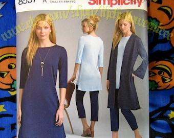 Simplicity 8557 long cardigan, tunic, leggings sewing pattern XXS-XXL
