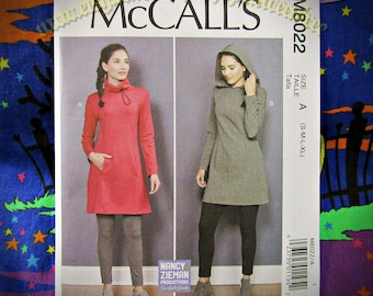 McCalls 8022 Hoodie tunic top Hooded dress Sewing Pattern m8022 S-XL