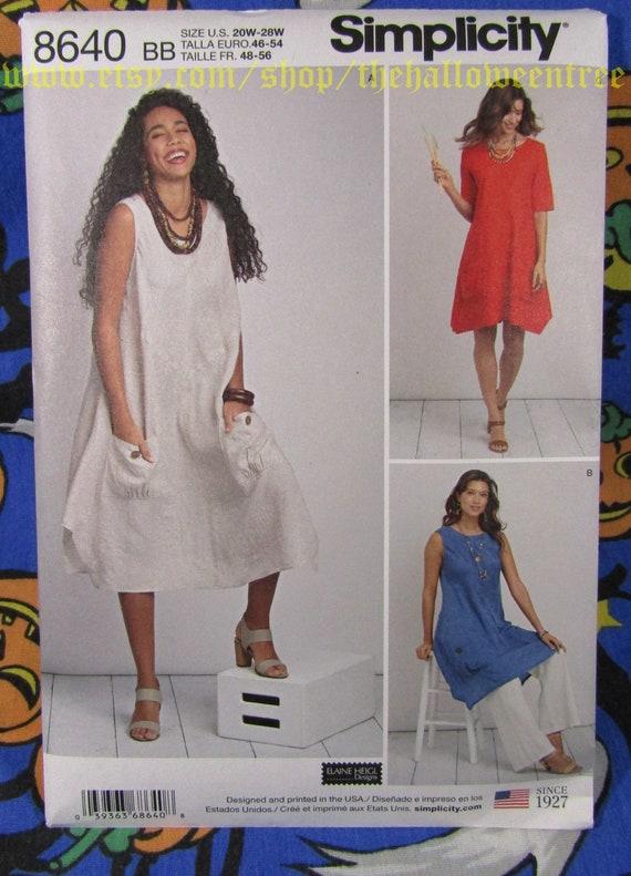 Einfachheit 8640 einfache Lagenlook Tunika Kleid Taschentuch | Etsy