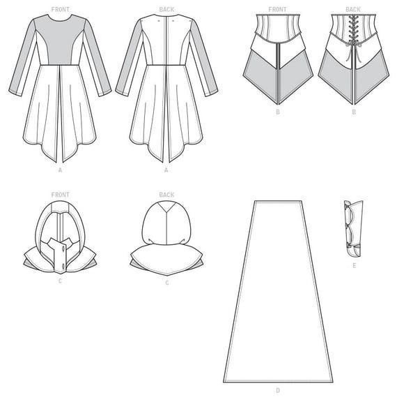 McCalls 7645 Misses Kleid Korsett Kapuze Cape Schnittmuster | Etsy