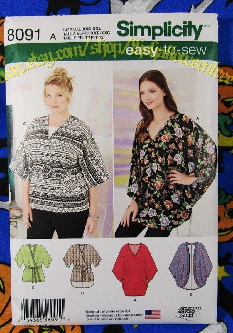 Simplicity 8091 butterfly kimono cardi easy sewing pattern XXS-XXL
