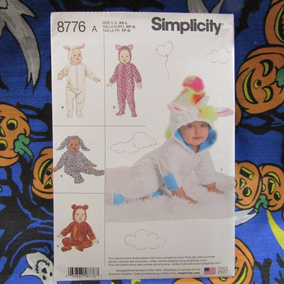Simplicity Sewing Patterns 8776 Baby Infant Unicorn Bear Rabbit Size XS-L