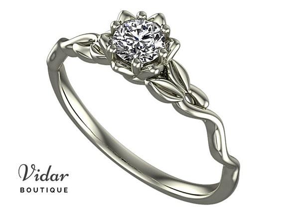 Witte Saffier Verlovingsring Bloem Verlovingsring Diamond Etsy