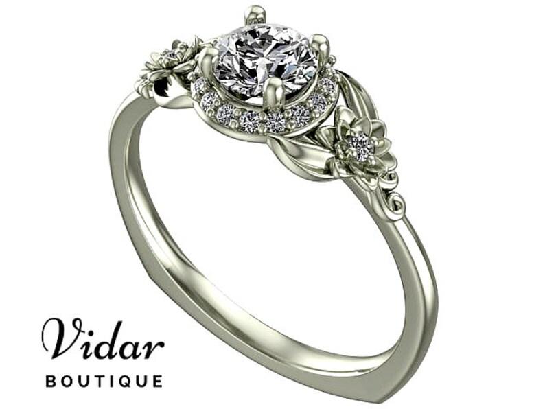 108bb13e02db99 Pierścionek pierścionek zaręczynowy wyjątkowy kwiat liście | Etsy