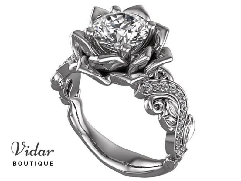 54538c5bce Flower Engagement Ring Unique Engagement Ring White Gold | Etsy