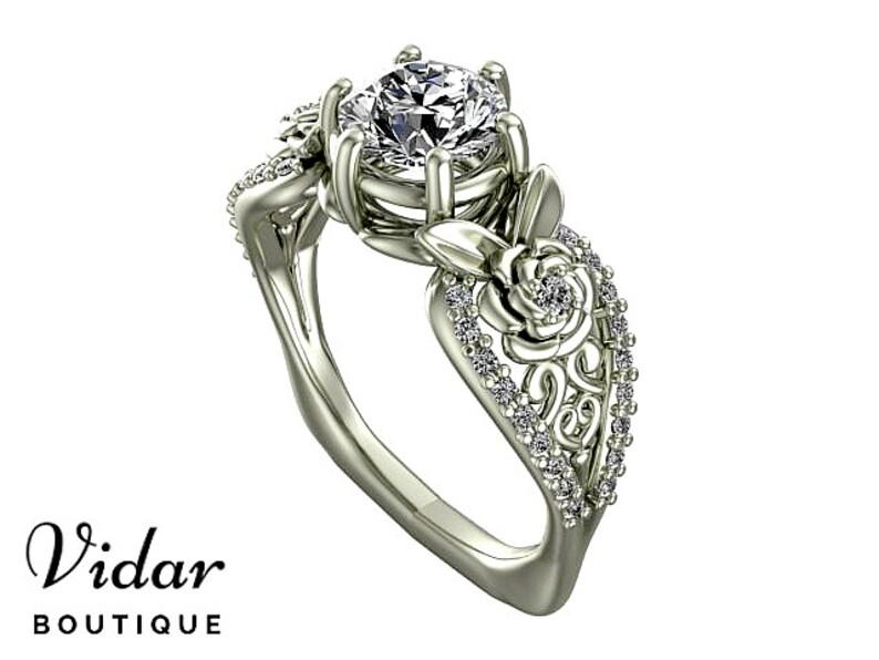 996d965c34 Flower Engagement Ring Unique Engagement Ring White Gold Leaf | Etsy