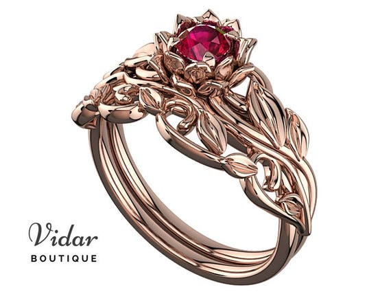 Ruby Engagement Ring Floral Engagement Ring Wedding Ring Set Etsy