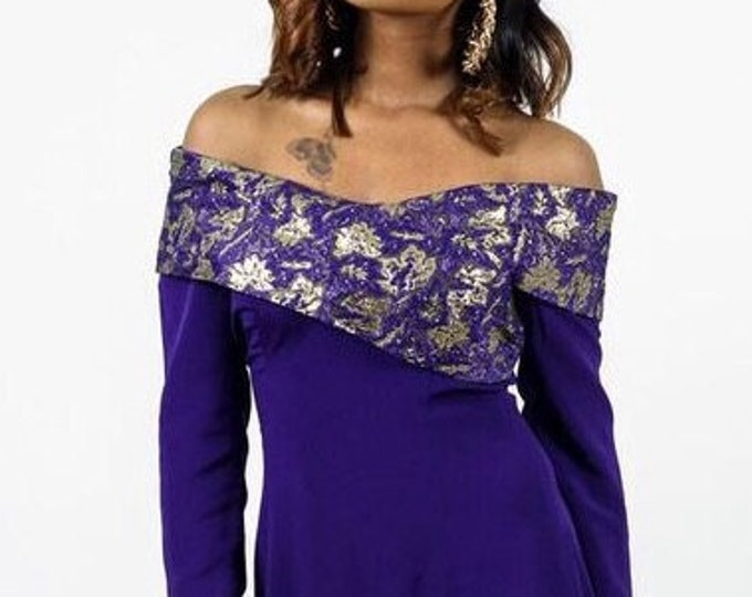 Vintage Purple Off Shoulder Dress