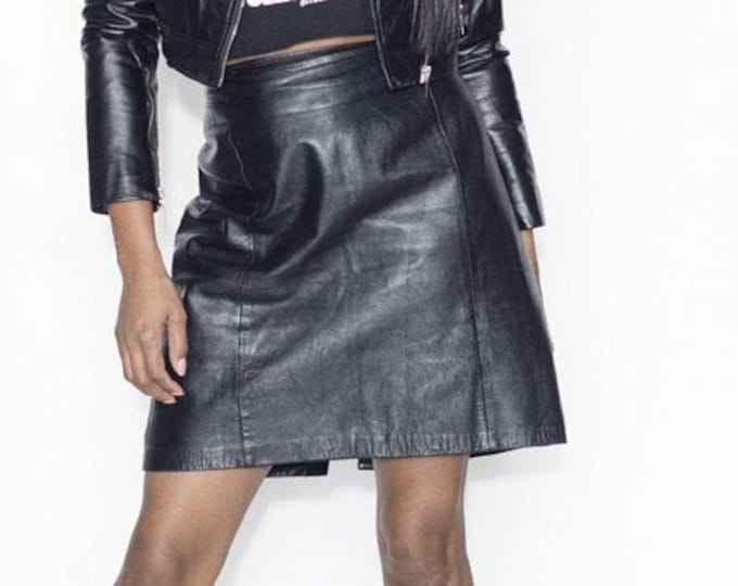 Black Vintage Leather Mini Skirt