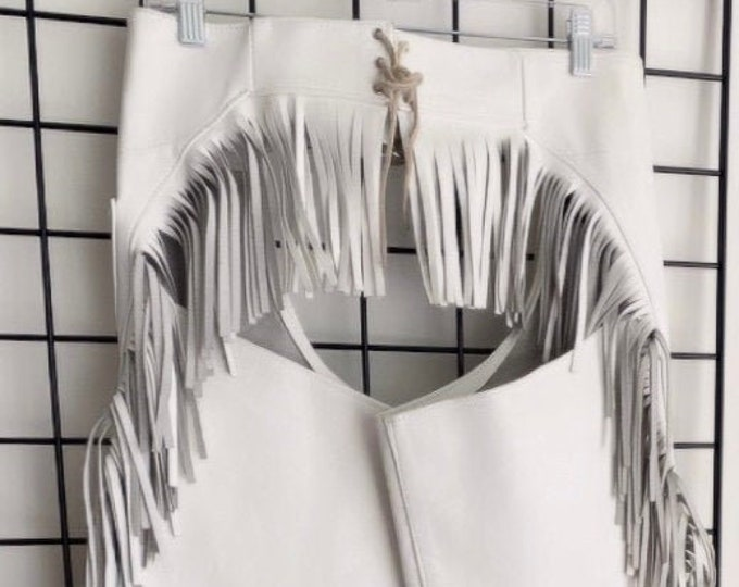 Featured listing image: Vintage White Leather Fringe Chaps