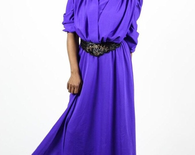 Vintage Purple 70s Plus Size Dress