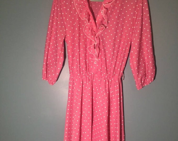 Vintage 70s Ruffle  Polka Dot Dress