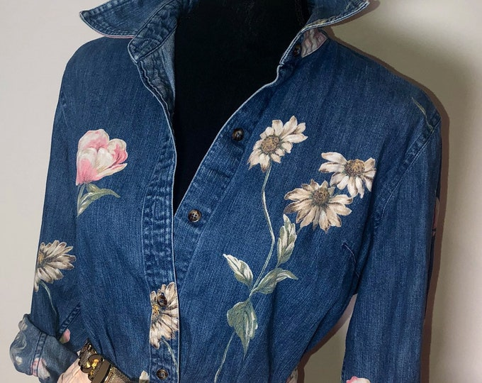 Vintage Floral Denim Blouse