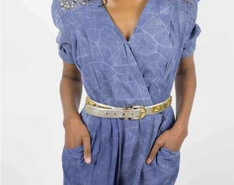 girls youth 14 vintage nineties blue and white print jumpsuit My Michelle petite heart embellished playsuit