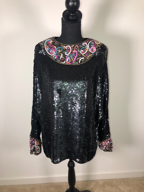 1990s Vintage Sequin Top