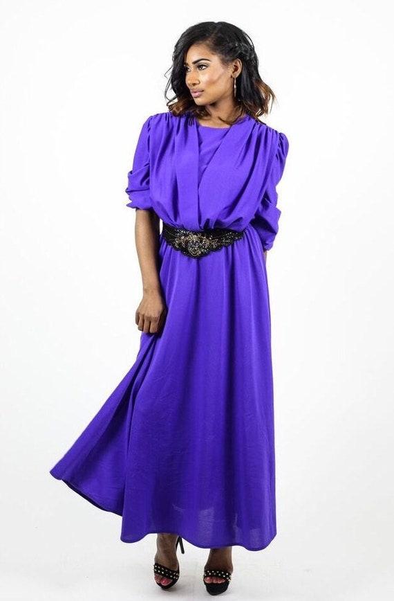 Vintage Purple 70s Plus Size Dress