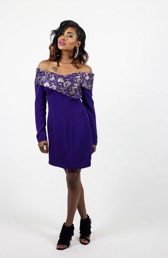Vintage Purple Off Shoulder Dress