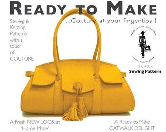 PDF Sewing Pattern   Womens High Fashion Designer HandBag Purse Wool Felt  Bag With Easy Sew