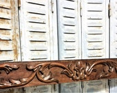 Architectural salvage gothic scroll leaves pediment antique french wooden panel trim a