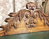 Shell scroll leaves crowned pediment Antique french wooden architectural salvage