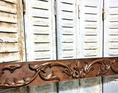 Architectural salvage gothic scroll leaves pediment antique french wooden panel trim b