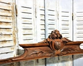 Gothic blazon shield crowned pediment Antique french wooden architectural salvage